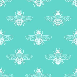 Bee White on Turquoise