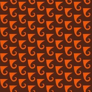 Waves Orange on Brown