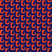 Waves Orange on Navy Blue