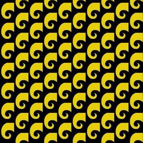 Waves Yellow on Black