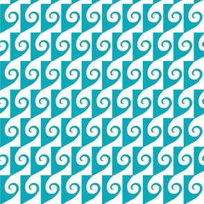 Waves  Aqua on White 3