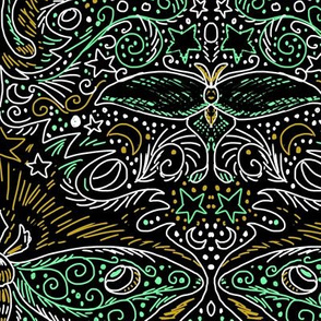 chalkboard filigree luna moth damask