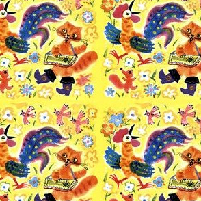 vintage retro kitsch flowers birds roosters cocks pussy puss boots cats squirrels chipmunks party dancing music musician zither folk art