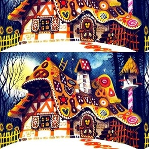 vintage retro gingerbread house forests cakes lollipops candy canes sweets candles fairy tales peppermints sunflowers night moon stars fairy tales