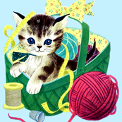 vintage retro kitsch kittens cats pussy measuring tapes baskets ribbons yarn wool thread spools thimbles whimsical sewing knitting