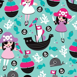 Cute little girls pirate fish coral and whale ocean life illustration pattern