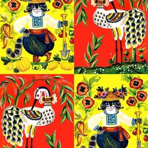 folk art tribal farmer cats flowers chillies lemons pumpkin fruits vegetables crops shovel pussy boots cranes storks willows checkered cheater quilt