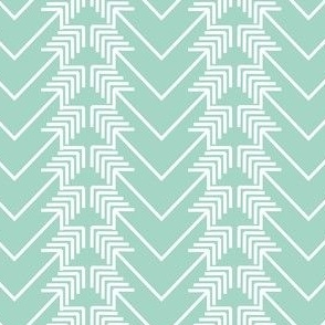 white arrow herringbone on mint