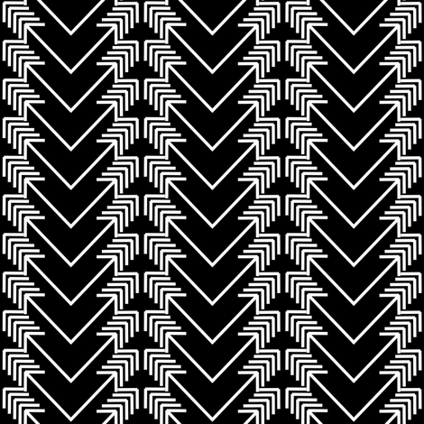 white arrow herringbone on black