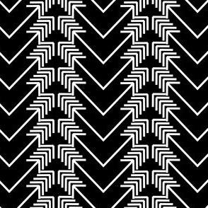 white arrow herringbone on black