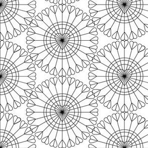 Open Your Heart (Black on White) || hearts Ferris wheel valentine valentines day love geometric mandala wire