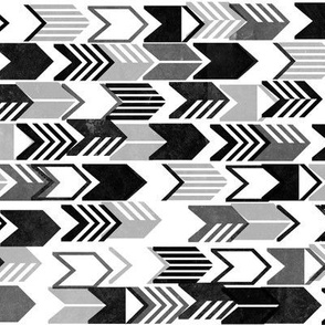 Tribal Arrows (Black & White) || geometric chevron arrow native arrowhead stripes photocopy