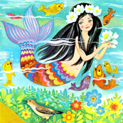 vintage mermaids ocean sea underwater fishes aquatic queen princess fairy tales stories retro birds flowers fantasy mythical myths mythology