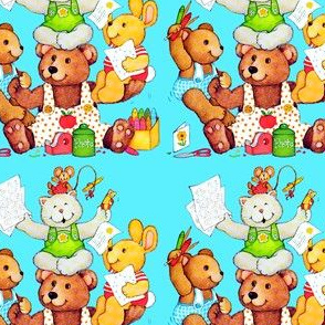 vintage retro kitsch teddy bears crayons coloring pencils mouse mice rats rabbits bunny bunnies cards scissors scotch tape stationery overalls