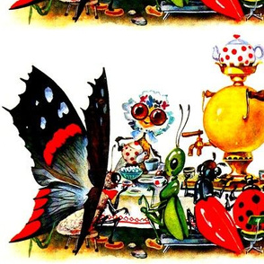 afternoon tea party insects butterfly butterflies grasshoppers ladybirds beetles bumble bees boilers Samovar teapots cups sugar vintage retro kitsch