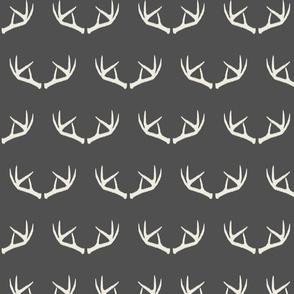 Antlers-Dark Gray & Cream