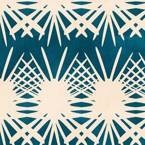 Indigo Floral Stripe