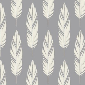 Feathers-Light Gray & Cream