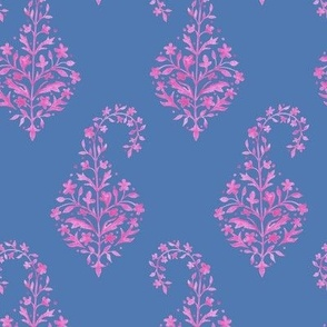 Painted Paisley in Raspberry on Blue