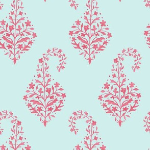 Painted Paisley in_Coral_on Aqua