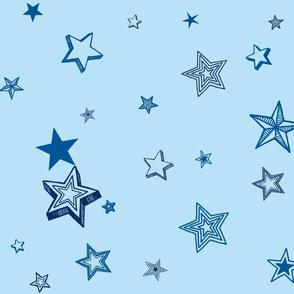 Stars and stars-baby blue