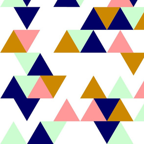 Mint, Navy, Gold, and Coral / Pink Triangles