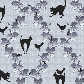 Cat Autumn Damask Blue