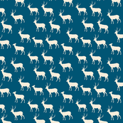 Woodland Herd Cream on Petrol Blue