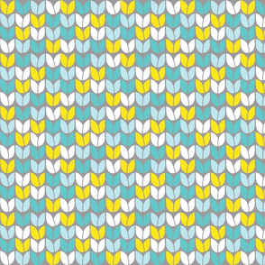 Tulip Knit (Aqua Yellow on Gray BG)