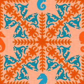 The Coral Sea ~ Seahorse Damask ~ Coral Linen Luxe