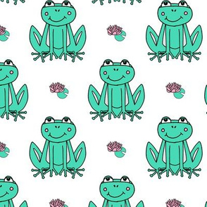 Happy Frogs - Light Jade/White by Andrea Lauren