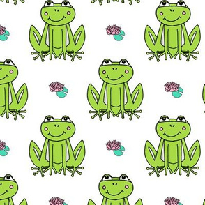 Happy Frogs - Lime Green/White by Andrea Lauren