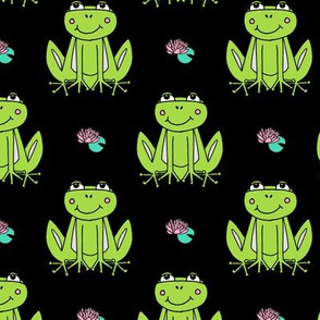 Happy Frogs - Lime Green/Black by Andrea Lauren