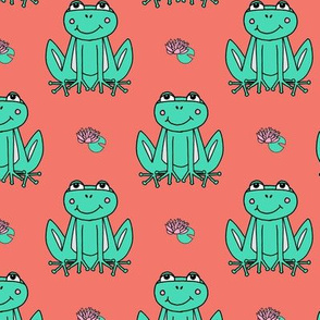 Happy Frogs - Coral/Light Jade by Andrea Lauren