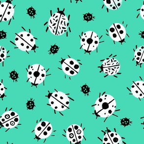 Ladybugs - Light Jade Background by Andrea Lauren