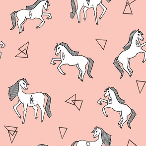 Geo Horses - Pale Pink by Andrea Lauren
