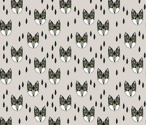 Geometric Fox Head - Artichoke/Light Grey by Andrea Lauren