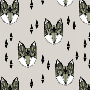 Geometric Fox Head - Artichoke/Light Grey by Andrea Lauren