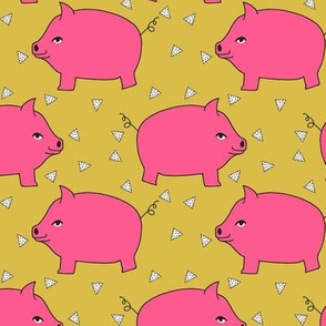 Piggy Bank - Bright Pink/Mustard by Andrea Lauren