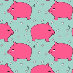 Piggy Bank - Bright Pink/Pale Turquoise by Andrea  Lauren