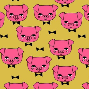 Mr. Pig - Bright pink/Mustard by Andrea Lauren