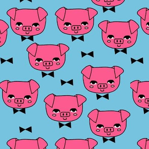 Mr. Pig - Bright Pink/Soft Blue by Andrea Lauren