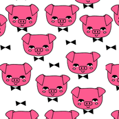 Mr. Pig - Bright Pink on White by Andrea Lauren