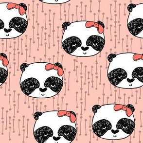 Panda with Bow - Pale Pink by Andrea Lauren