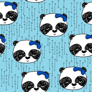 Panda with Bow - Sky Blue by Andrea Lauren