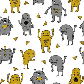 monster // monsters grey and mustard yellow kids boys creepy scary monster boys room fabric