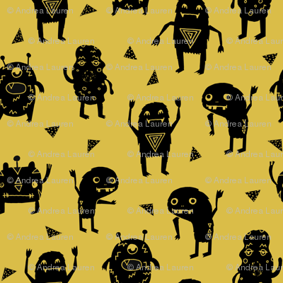 Monster monsters mustard yellow fabric for boys room for Fabric for boys room