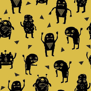 monster // monsters mustard yellow fabric for boys room kids cute triangles scary monster