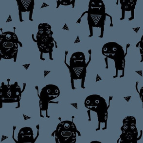 monsters // creepy scary boys room monster fabric blue dark blue boys