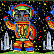 vintage retro kitsch astronauts science fiction futuristic spaceships rockets  space galaxy shuttle pilots earth pop art sci fi cats rainbow colorful